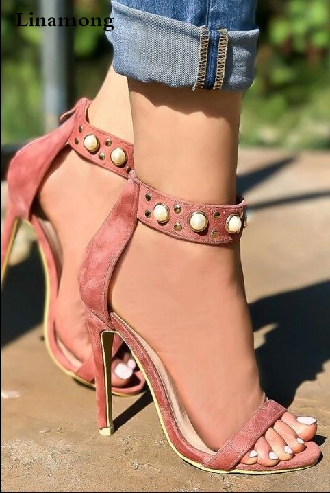 Livraison directe été Sexy femmes rose peau de mouton noir bout ouvert perles Zip retour mince talons parti sandales chaud grande taille robe chaussures