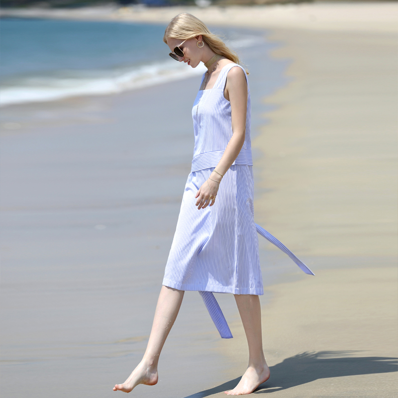 Amii Women Minimalist Dress 2018 Summer Stripe Sleeveless Square Collar Straps Female Dresses-in Dresses from Women's Clothing    3