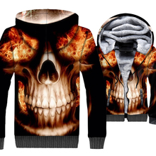 high quality streetwear hooded hoodies 2019 winter skull 3D printed tracksuits loose fit wool liner thick jackets men punk coats