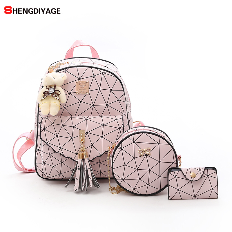 3Pcs/Set Women Backpack female 2018 School Bag For Teenage Girls PU Leather Women Backpack Shoulder Bag Purse mochila sac a dos aelicy 3 colors 2pcs set luxury new women fashion backpack with purse bag pu leather backpack women school bags for girls 0927