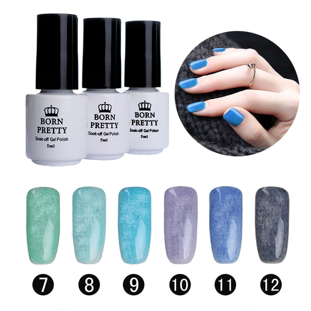 BORN PRETTY Fur Effect Nail Art UV Gel Soak Off 6 Colors/set 5Ml Nail Gel Polish Winter 7-12