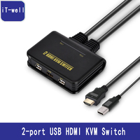 2 Port USB HDMI KVM Switcher Selector USB2 0 HDMI 1080P With Mouse Keyboard Supported