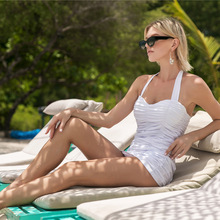 Летний купальник, красный, белый, черный, плюс размер, монокини, сдельный Купальник для женщин, Холтер, Мягкий купальник, женский купальник, большой размер