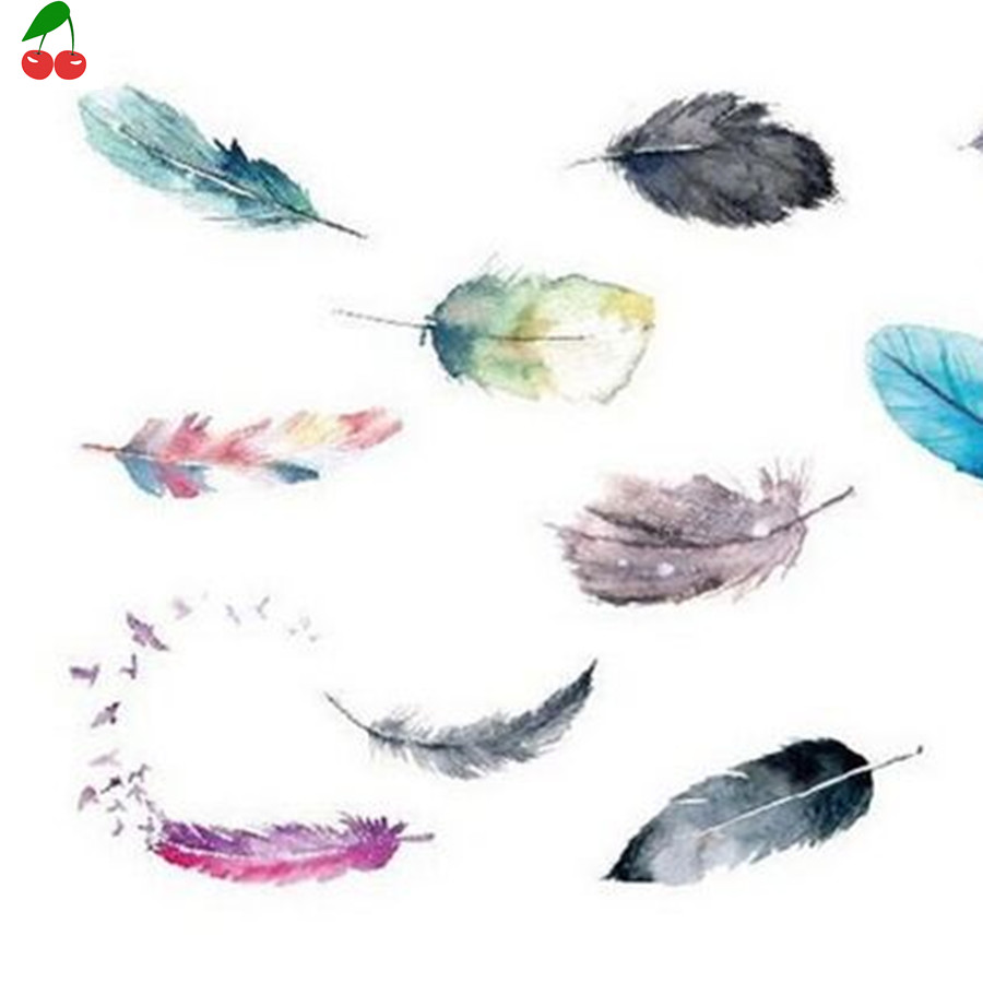 Small fresh water color waterproof feathers beautiful female feathers arm ankle lasting tattoo stickers