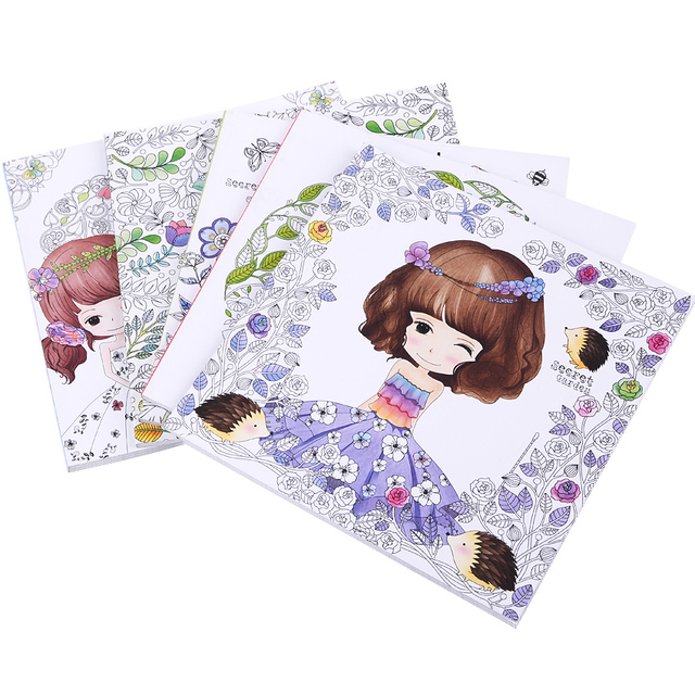 48 Pages Beautiful Flower Girl Antistress Coloring Books For adults Kids children Relieve stress