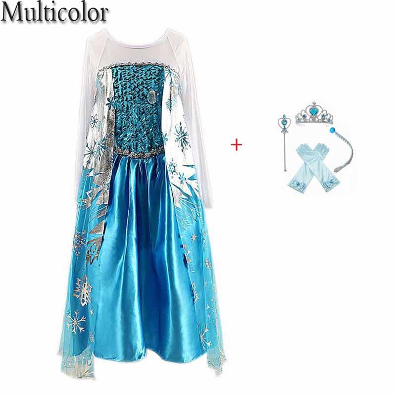 Multicolor Summer Kids Dresses For Girls Princess Anna Elsa Elza Dress Kids Princess Wedding Party Dresses Children Clothing