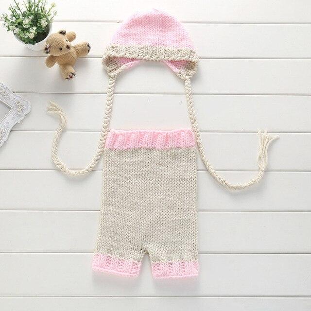 Foto del bebé atrezzo Crochet baby set Ropa de Bebé Unisex pantalones y  sombrero set de ducha Recién Nacido regalo en Sombreros y Gorras de Mamá y  ...