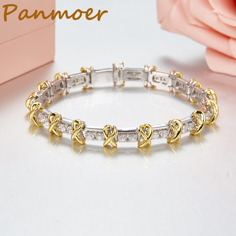 Brand 100% Silver 925 New Luxury Elegant Woven Protection Zircon Classical Charm bouble T bracelet bangles for women jewelry pair of elegant faux gem zircon oval floral bracelet for women