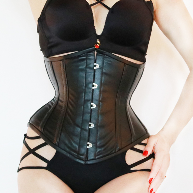 3e97e052bac Annzley Tight Lacing Black Genuine Leather Corset Underbust For Sale ...