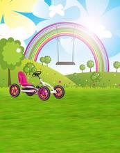Фон для фотосъемки с изображением лужайки травы дерева радуги