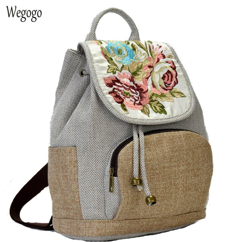 Vintage Women Backpack Floral Embroidered Backpack Canvas Shoulder Bag Travel Linen Rucksack Schoolbag Woman Mochila floral embroidered off the shoulder tunic blouse