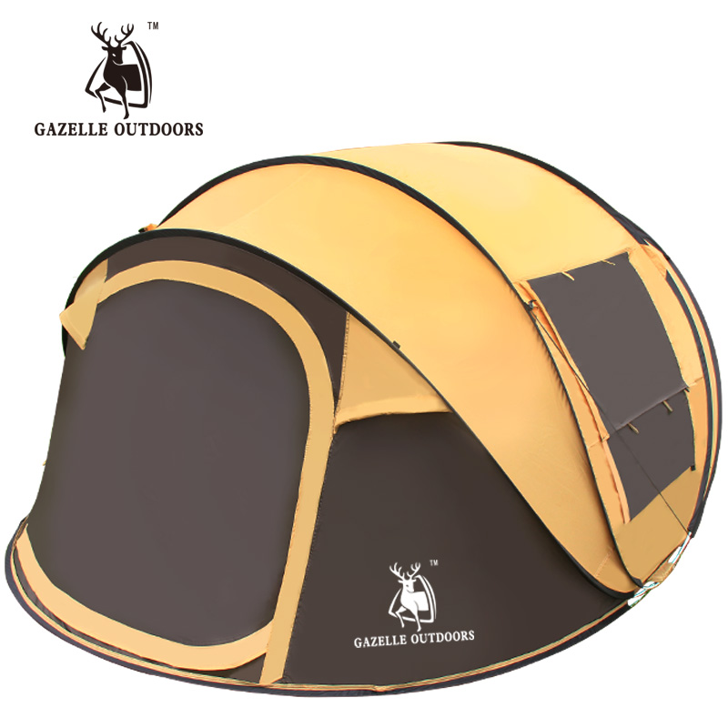 GAZELLE Extra Outdoor 3-4Persons Automatic Speed Open Throwing Pop Up Windproof Waterproof Beach Camping Tent Poles Accessories outdoor double layer 10 14 persons camping holiday arbor tent sun canopy canopy tent