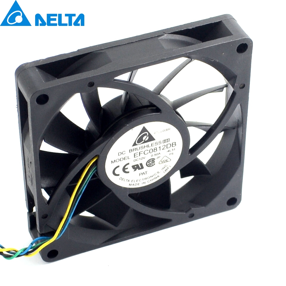 2pcs 8CM 80MM 8015 8*8*1.5CM 80*80*15MM 12V 0.5A 4-wire PWM Fan EFC0812DB Cooling fan cooling fan replacement d12bm 12d 4 pin connector pwm 12038 12v 2 3a 6000rpm for antminer bitmain s7 s9 useful