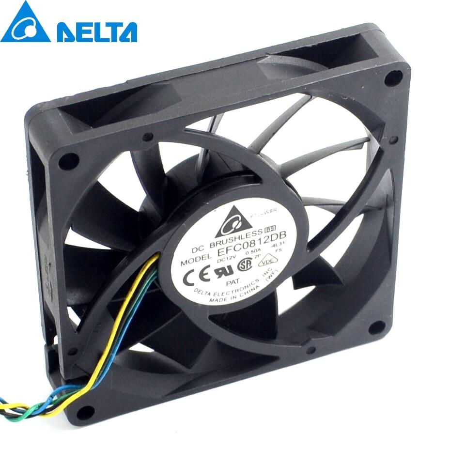2pcs 8CM 80MM 8015 8*8*1.5CM 80*80*15MM 12V 0.5A 4-wire PWM Fan EFC0812DB Cooling fan original delta aub0812vhb 8015 8cm 80mm dc 12v 0 30a slim chassis power supply cooling fans cooler
