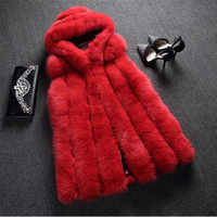 (TopFurMall) Luxury Real Fox Pelz Weste Weste mit Hoody Herbst Winter Frauen Pelz Gilet Oberbekleidung Mäntel Mantel VK3108