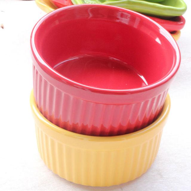 Colored Glaze Ceramic Pudding Bowl Small Cake Baker Oven Safe