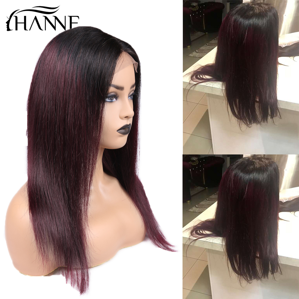 HANNE 4 4 Lace Closure Wigs 1B 99J Ombre Remy Human Hair Wigs With Baby Hair Straight 150 Density Brazilian Hair Wig in Stock in Human Hair Lace Wigs from Hair Extensions Wigs