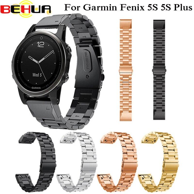 20mm Bande de Montre En Métal En Acier Inoxydable Bracelet de Courroie de Bande Pour Garmin Fenix5S Fenix 5S Plus Fleje de acero inoxidable bracelet