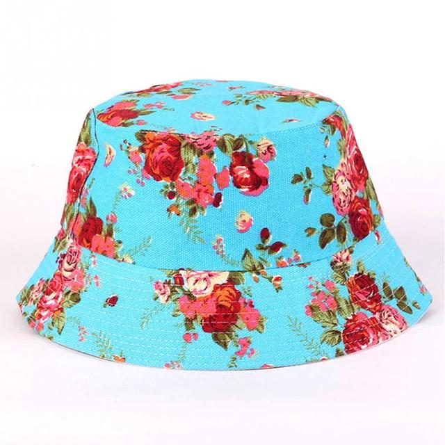 760e854db66876 58-60cm 20color Anti-ultraviolet Women Hunting Fishing Outdoor Cap Floral Lady  Summer Sun Hat Bucket Style Girl Beach canvas hat