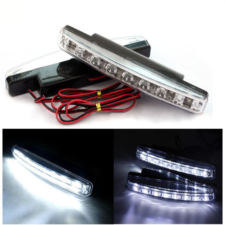 2pcs Universal Car Day Light 2*8 LEDs 12V 6000K White Auto LED Daytime Running Light Car LED Signal Light