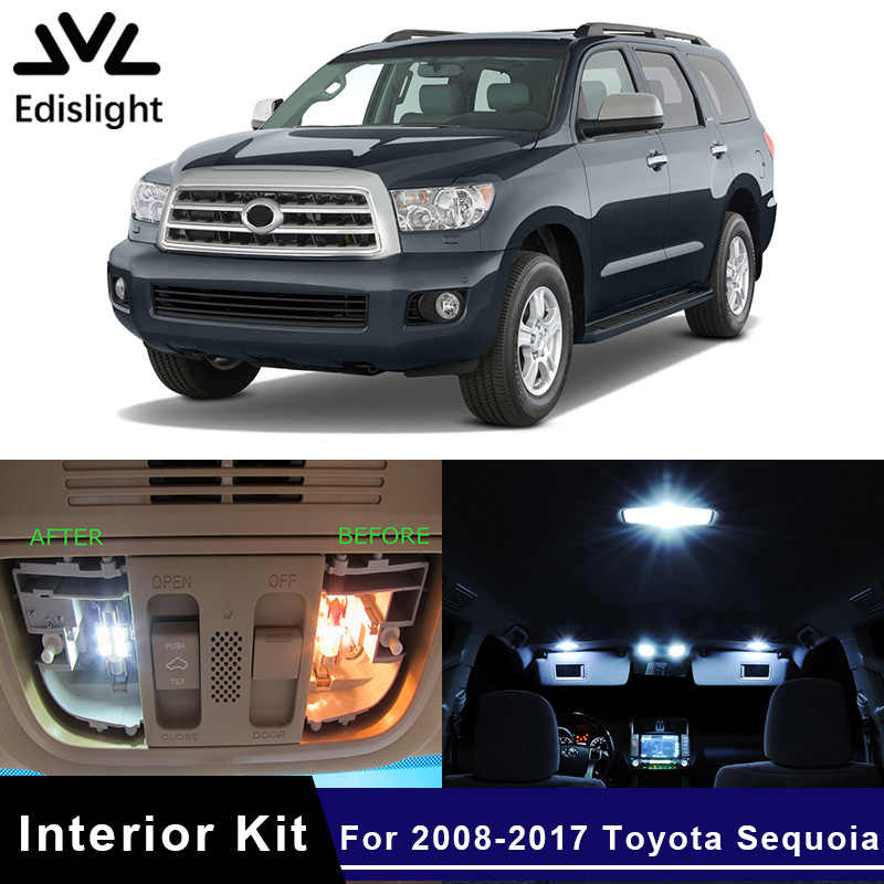 Edislight 12Pcs Wit Ijsblauw Canbus Led Lamp Auto Lampen Interieur Pakket Kit Voor 2008-2017 Toyota Sequoia kaart Dome Kofferbak Licht