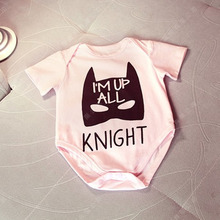 Newborn Toddler Baby Girls Batman Bodysuit Pink Letter Jumpsuit One-pieces Summer Clothes