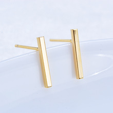 (163) 20PCS 12x1.5MM 24K Gold Color Brass Rod Stud Earrings High Quality Diy Jewelry Findings Accessories
