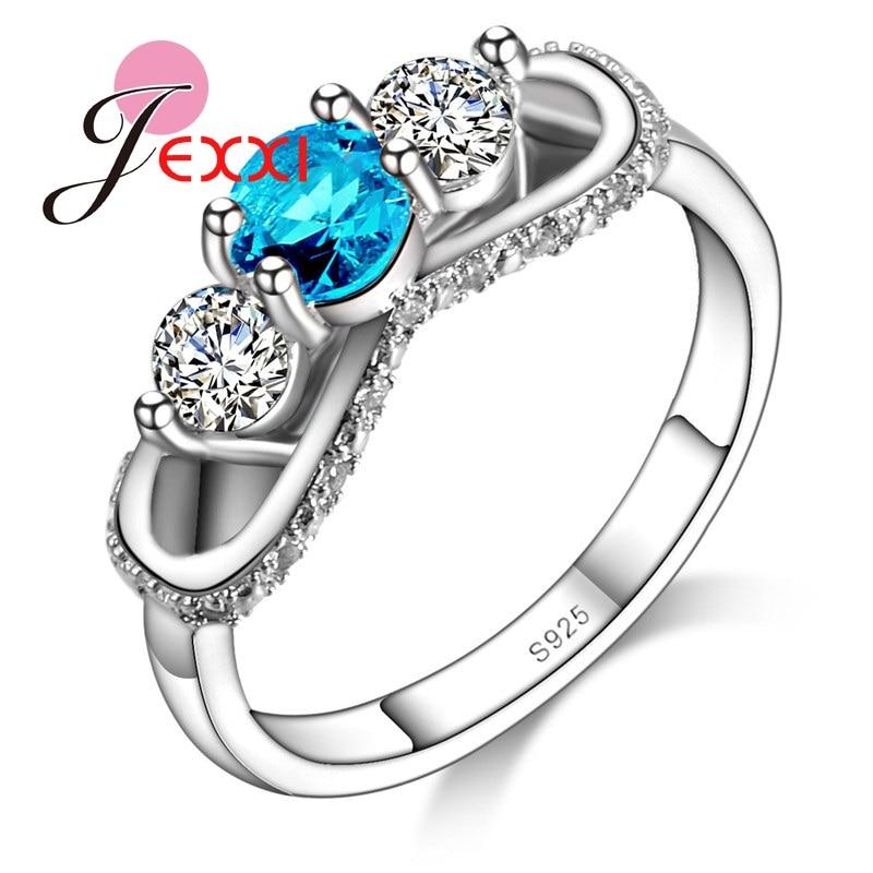 c084de263b3f JEXXI exquisita blanco y azul Cubic Zirconia cristal anillo mujeres anillo  de dedo de la plata esterlina 925 accesorios tamaño 6 7 8 9 mayoristas