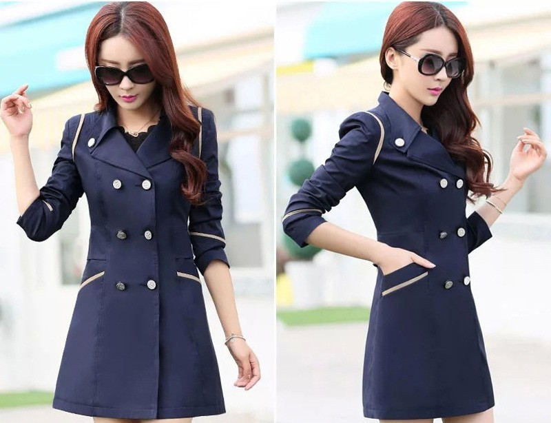 FIONTO Spring Autumn Trench Coat 19 Turn Down Collar Casual Trench Coat Women Solid Long Slim Double Breasted Coats A034-1 9