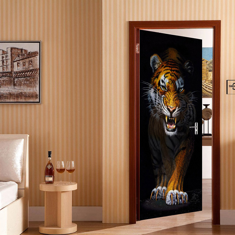 Ferocious Tiger Door Mural Wallpaper Living Room Bedroom Door Creative DIY Decorative PVC Self-adhesive Waterproof Sticker Paper creative letters design adventure diy pvc sticker adhesive wallpaper