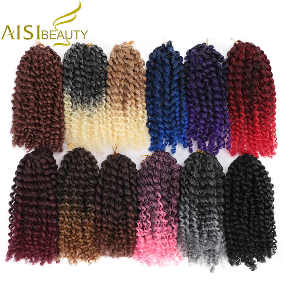 AISI BEAUTY 8inch 30g/pcs Kinky Curly Ombre Hair Crochet Braids Marley Synthetic Braiding Hair Extensions for Women Purple Black