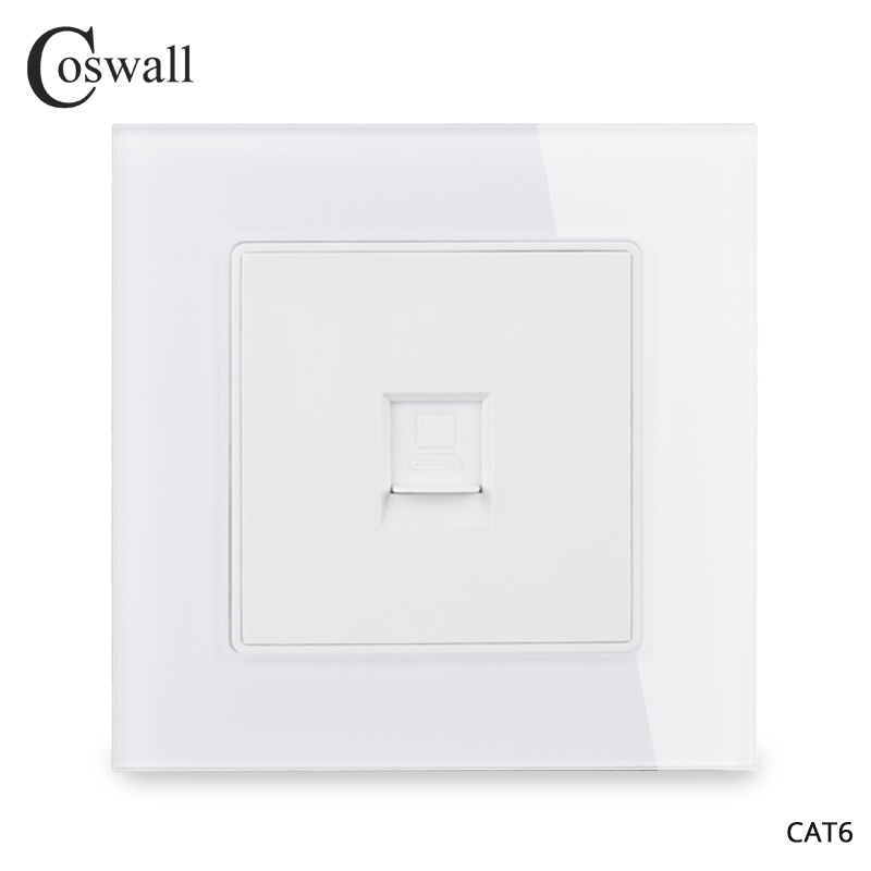 Coswall Crystal Glass Panel 1 Gang RJ45 Internet Jack CAT6 Connector Computer Outlet Wall Data Socket