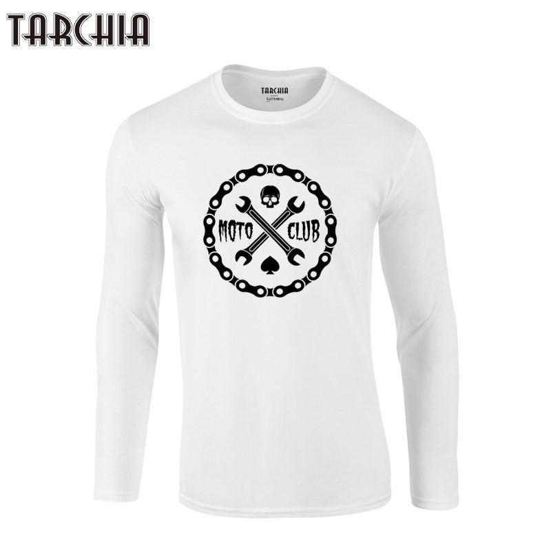 TARCHIA Brand Free Shipping Eur Size Long Sleeve Men T-Shirt 100% Cotton Plus Size Men's Tee tee 2019 motorcycle club badge
