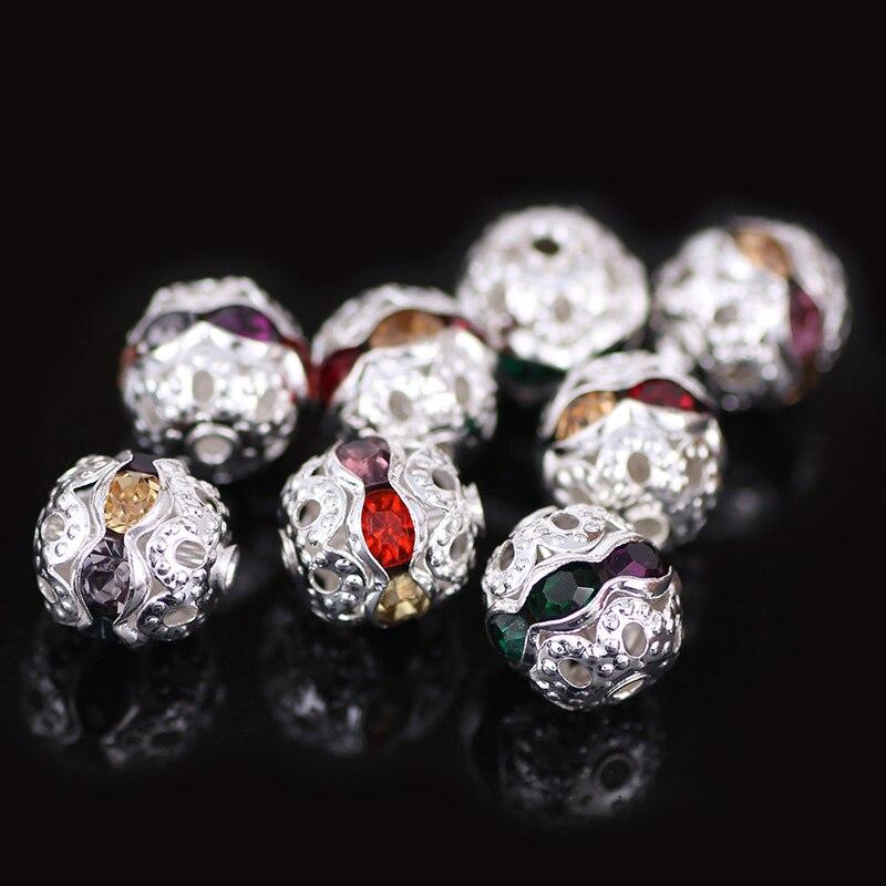 DIY ювелирных Интимные аксессуары Шамбала Бусины 8 мм 20 штук Кристалл Rhinestone дискотечный шар Бусины Шамбала Бусины Цвета смешанные DIY Бусины