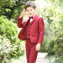 Boys Blazer Suit Kids England Style Boys Formal Vest Blazer Suit Children Graduation 5Pcs Clothes Sets Boys Wedding Suit H179