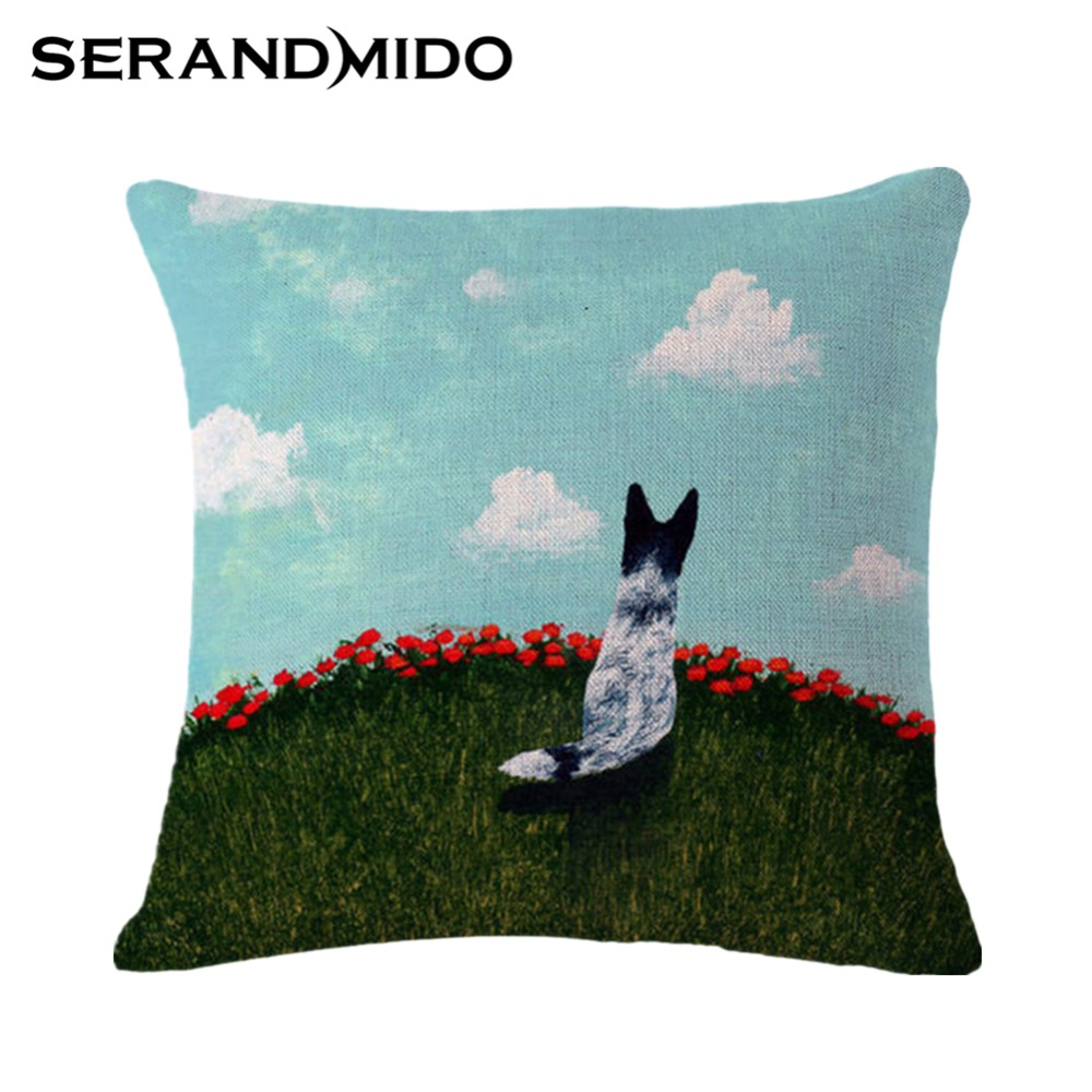 dogs look the blue sky outdoor cushion covers 4545cm square decorative pillowcase for home