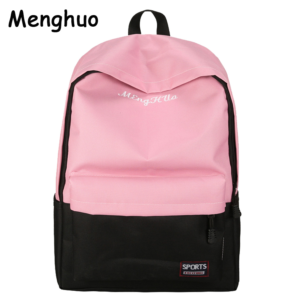 Menghuo 6 color Newest  Women Backpacks Bag Canvas Backpack Girls Rucksack School Backpacks for College Student Mochila Feminina pretty style pure color canvas women backpack college student school book bag leisure backpack travel bag