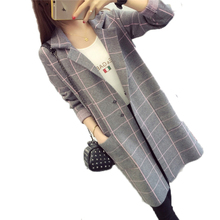 High Quality Brand Long Cardigan Women Sweater 2017 Fashion Autumn Winter Long Sleeve Knitted Plaid Cardigans Female Tricot Tops