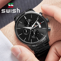 SWISH 2019 Men Waterproof Stainless Steel Multifunction Fashion Sport Quartz Watch Clock Mens Watches classic Top Brand Luxury M