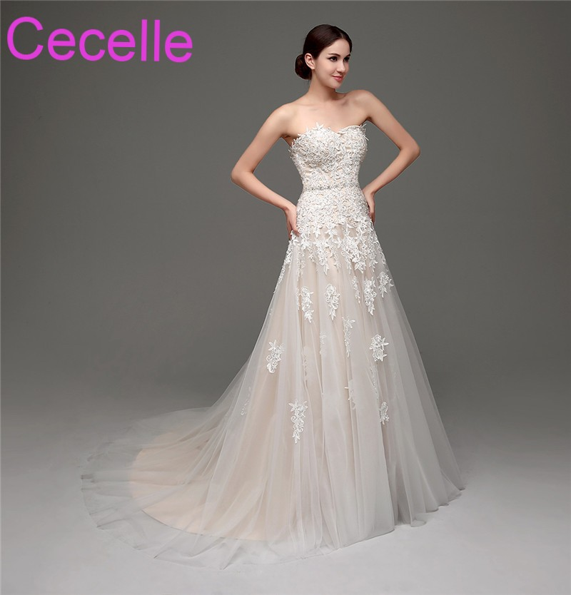 3a4c21559e8 Champagne Lace Vintage Wedding Dresses 2019 Sweetheart Corset Beaded Belt  Non White Colorful Bridal Gowns Country Western Style