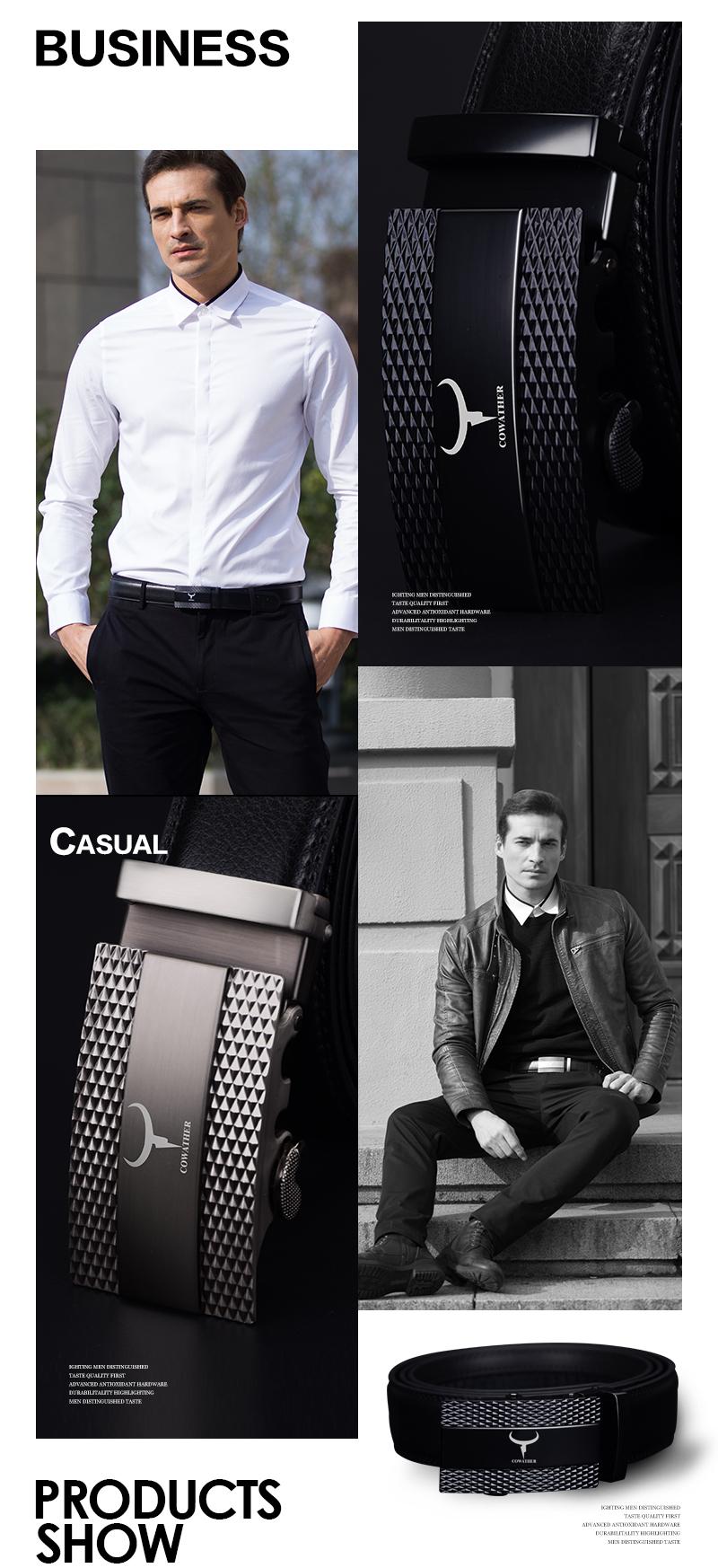 حزام COWATHER جلد طبيعي للرجال 3