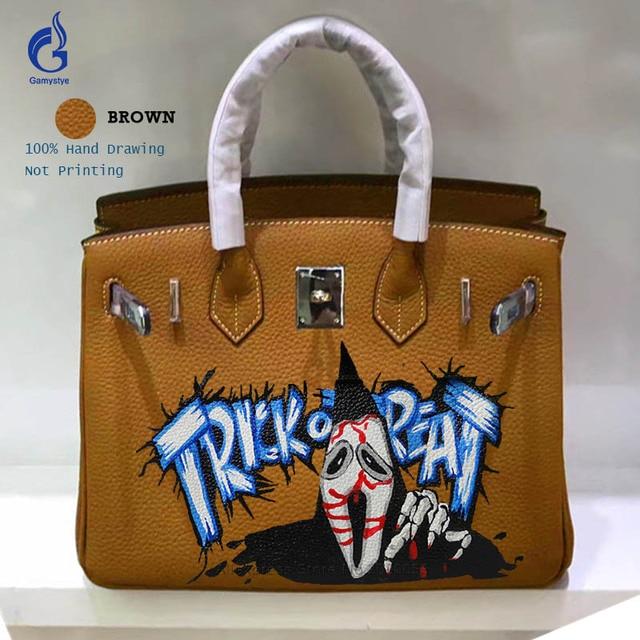 6797e8a7bb Gamystye Women Genuine Leather Handbags Togo Leather Ghost Paints Bag Women  Handbag Graffiti Design Casual Tote Messenger Bag Y