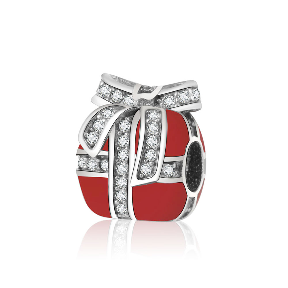 2016 Hot Christmas S925 Sterling Silver Charm Gift Charm In Red With Clear Cubic Zirconia Charm Fit Pandora Bracelet Jewelry