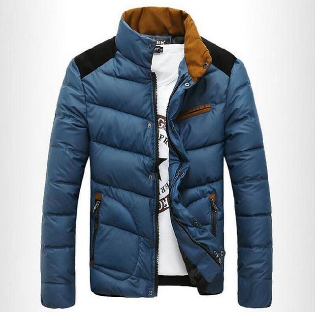 2016 Novos Homens de Moda Inverno Quente Grossa Jaqueta Parka Moda Patchwork Jaquetas Gola Para Baixo Casaco Outwear Casaco Sportwear