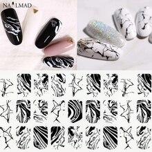 1 arkusz czarna woda marmurowa naklejka do paznokci z nadrukiem rozlanego atramentu 3D naklejki do paznokci białe marmurowe naklejki samoprzylepne pełne okłady ozdoby do paznokci