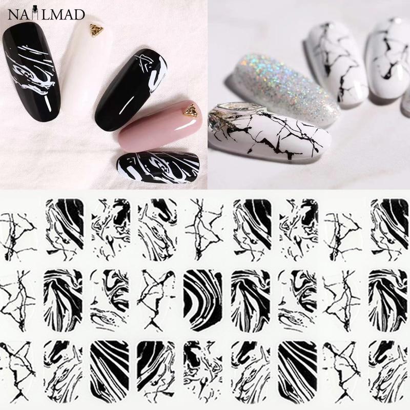 1 Sheet Black Water Marble Nail Sticker Splash Ink 3D Nail