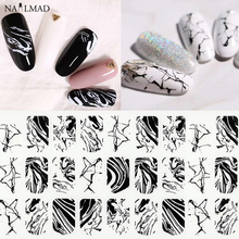 1 sheet Black Water Marble Nail Sticker Splash Ink 3D Nail Art Stickers White Marble Adhesive Decals Full Wraps Nail Decorations