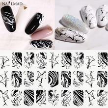 1 vel Zwart Water Marmeren Nail Sticker Splash Inkt 3D Nail Art Stickers Wit Marmer Lijm Decals Volledige Wraps Nail decoraties