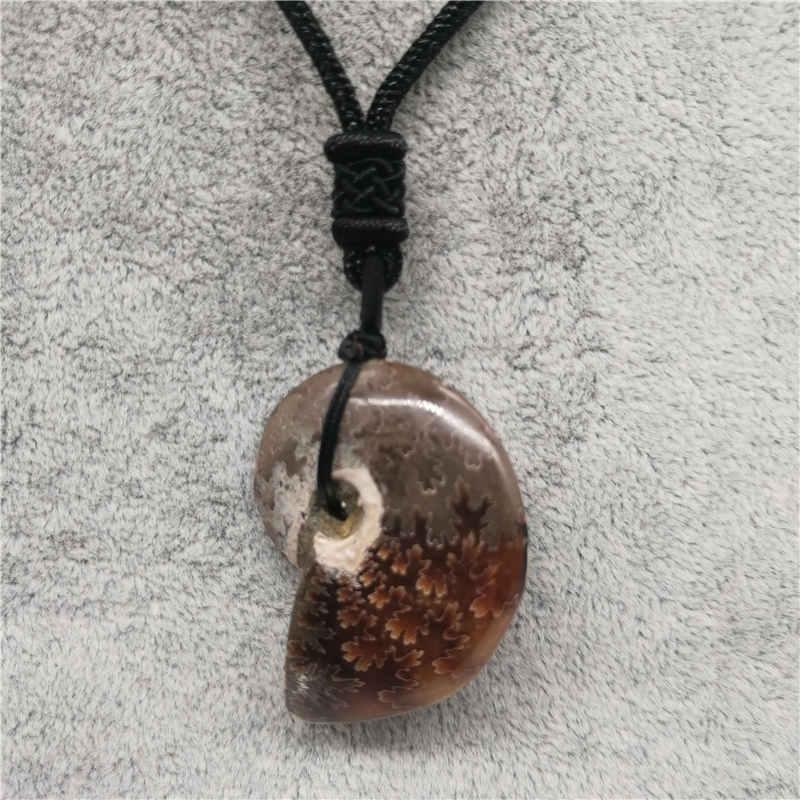 Beautiful Natural Stone Ammonite Fossils Seashell Snail Pendants Ocean Reliquiae Conch Animal Necklaces Statement Men Jewellery