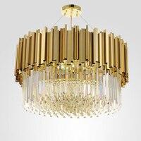 Luxury Modern Crystal Chandelier Round LED Light Gold Shiny Crystal Foyer Chandelier Lighting